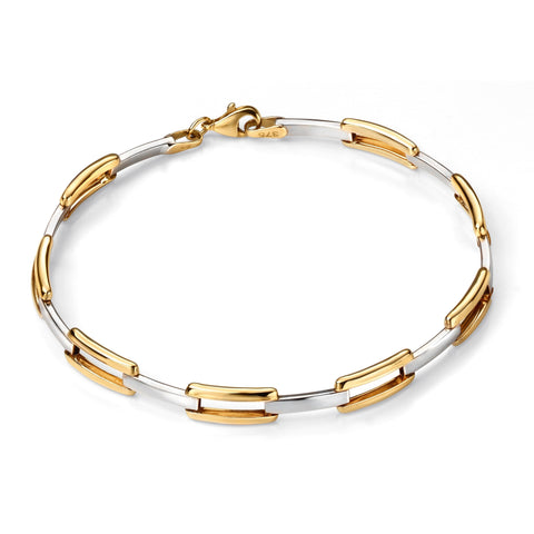 9ct Yellow Open Rectangle Link Bracelet