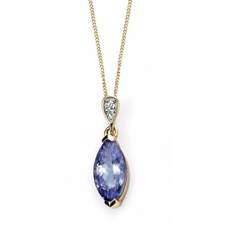 9ct Yellow Gold diamond and tanzanite marquise necklace