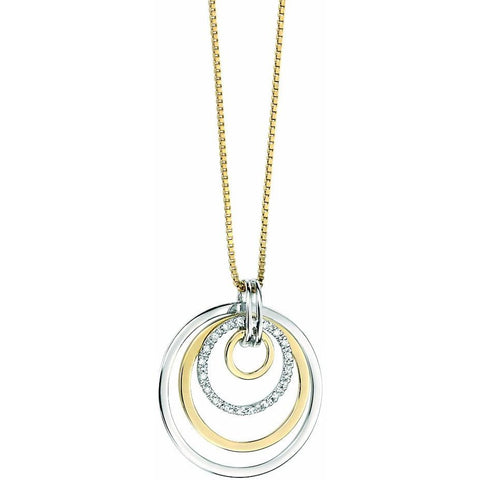 9ct yellow and white gold circle drop necklace with diamond detailing