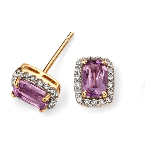 9ct yellow gold and amethyst cushion earrings with diamond detailing