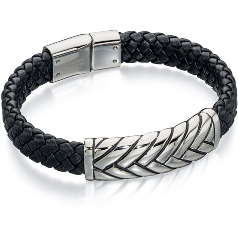 Black leather and steel plaited cuff bracelet