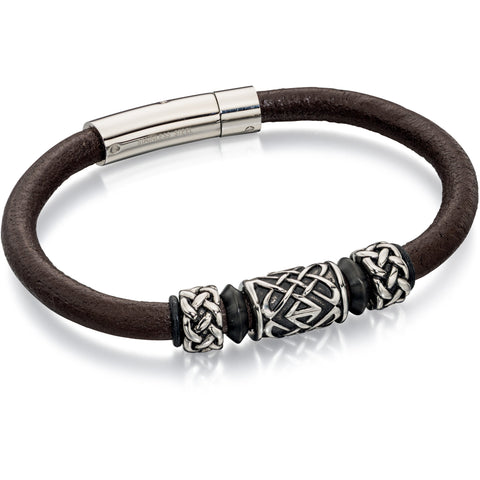 Brown smooth leather bracelet with Celtic beads