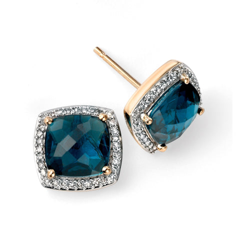 9ct Yellow Gold London blue topaz checkerboard earrings with diamond surround