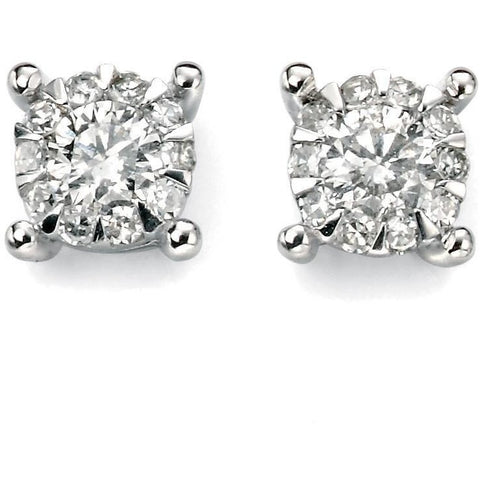 White gold and diamond cluster earrings