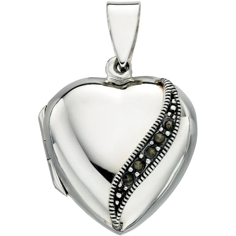 Silver and marcasite heart locket (with chain)