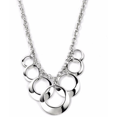 Open silver disc necklace
