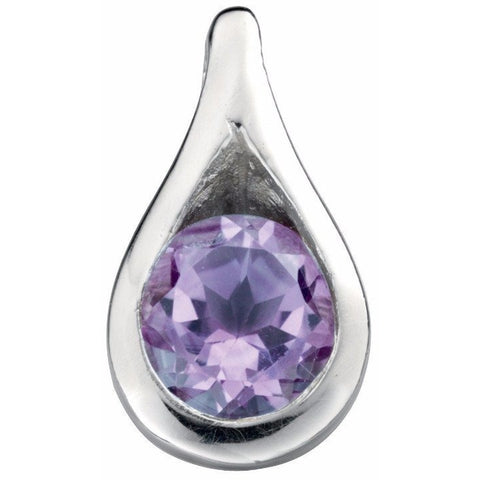 Amethyst cubic zirconia teardrop necklace (with chain)
