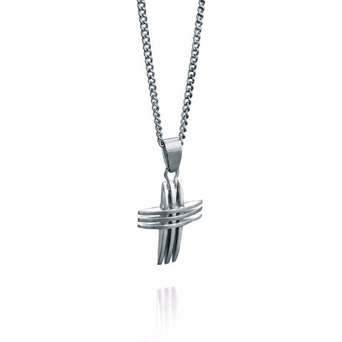Triple stainless steel cross necklace