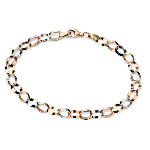 Rose gold, white gold & yellow gold flat link bracelet