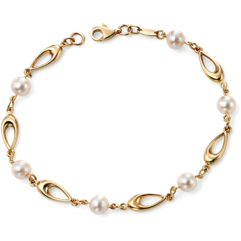 9ct yellow gold link bracelet with white freshwater pearls