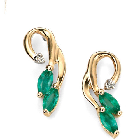 9ct Yellow Gold diamond and emerald vine earrings