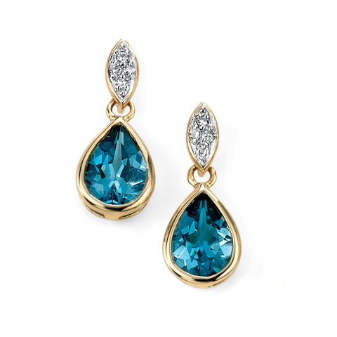 9ct Yellow Gold diamond and London blue topaz drop earrings
