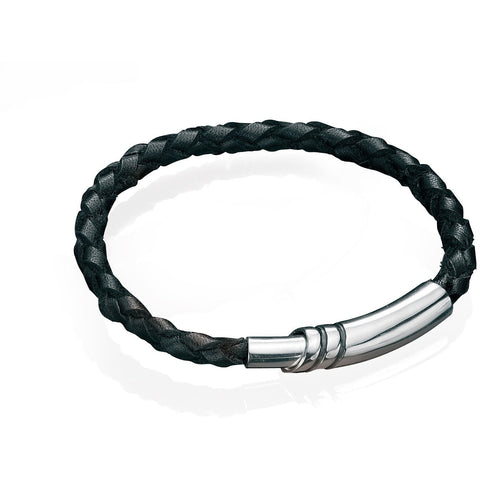 Black leather & magnetic clasp bracelet
