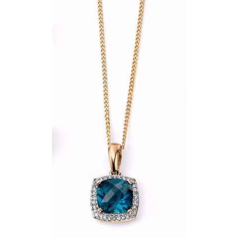 9ct Yellow Gold London blue topaz checkerboard necklace with diamond surround