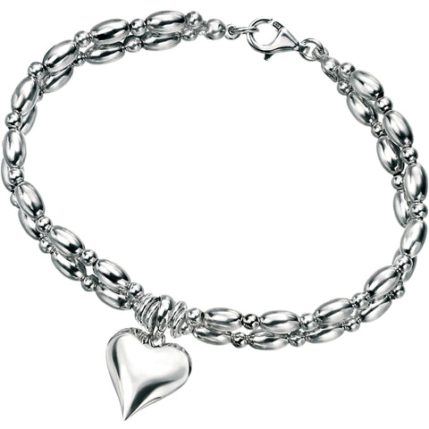 Silver heart bracelet with jumpring