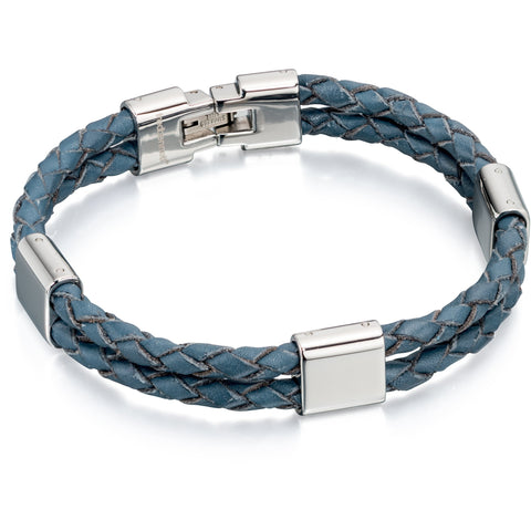 Navy blue leather and stainless steel bracelet