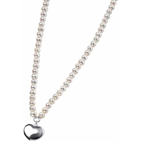 White freshwater pearl and silver heart necklace