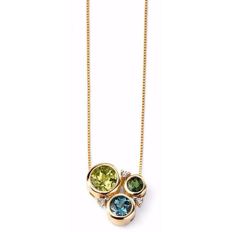 9ct Yellow Gold Diamond,  Peridot, London Blue Topaz and Green Tourmaline Circle necklace