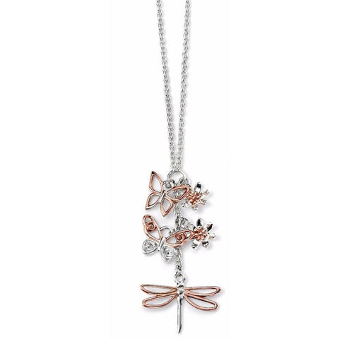 Butterfly, dragonfly and flower cluster necklace with rose gold detail