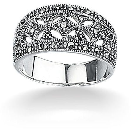 Silver and marcasite wide ring