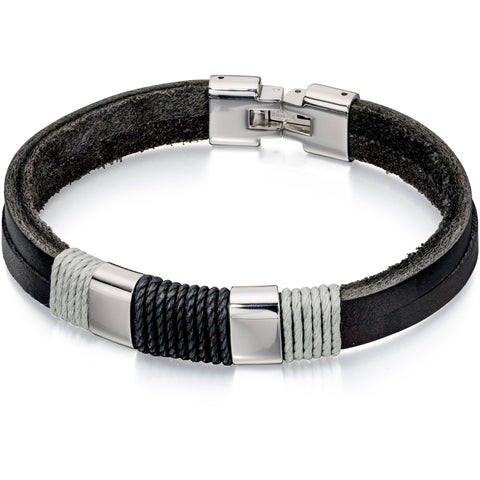 Leather with black & grey cord bracelet