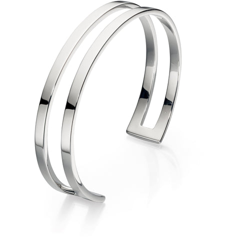 Open solid silver plain bangle