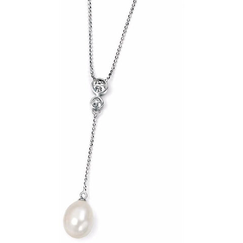 Pearl drop necklace with cubic zirconia