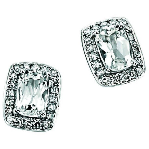 9ct white gold earrings with white topaz and diamonds