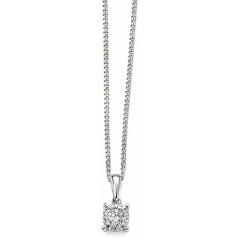 White gold and diamond cluster necklace