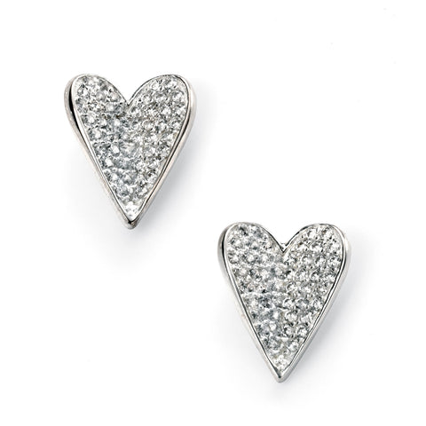 Silver and pave cubic zirconia heart stud earrings