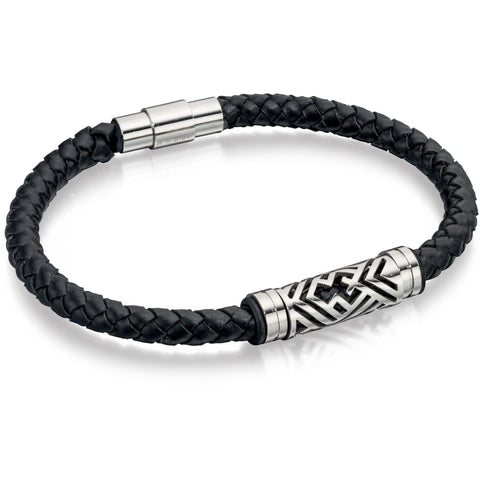 Black leather bracelet with detailed steel clasp