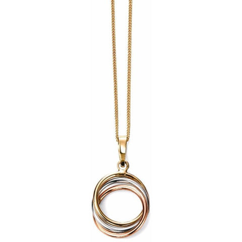 Elements Gold 9ct Tri colour hoop necklace