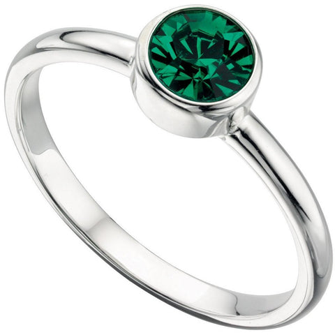 Silver and emerald Swarovski crystal ring
