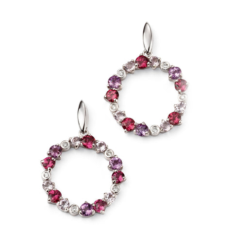 Diamond, amethyst and Brazilian garnet white gold earrings