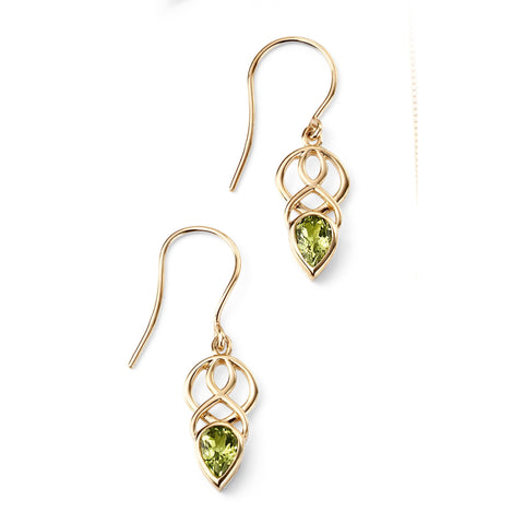 9ct gold and peridot celtic drop earrings