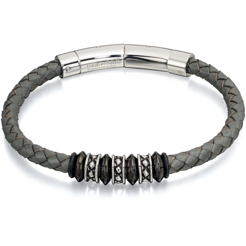 Grey leather and steel bead bracelet