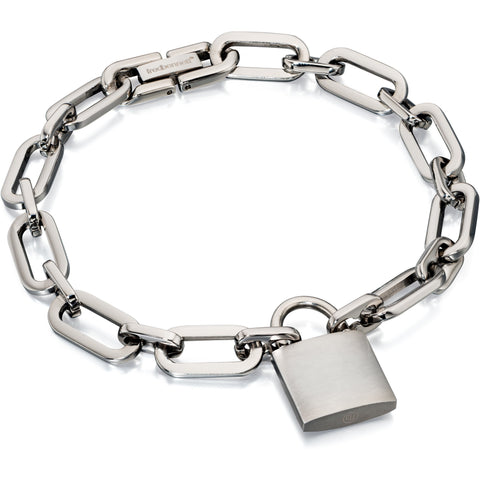Steel link and lock bracelet