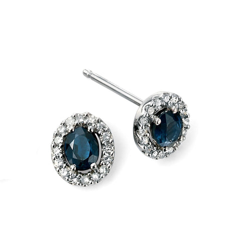 Sapphire, diamond and white gold cluster earrings