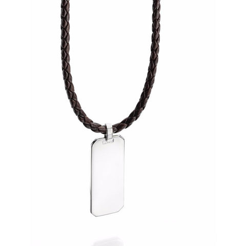 Silver dog tag on leather necklace