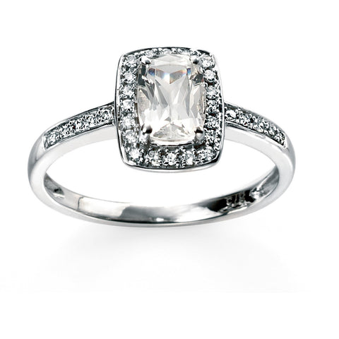 9ct white gold ring with white topaz and diamonds