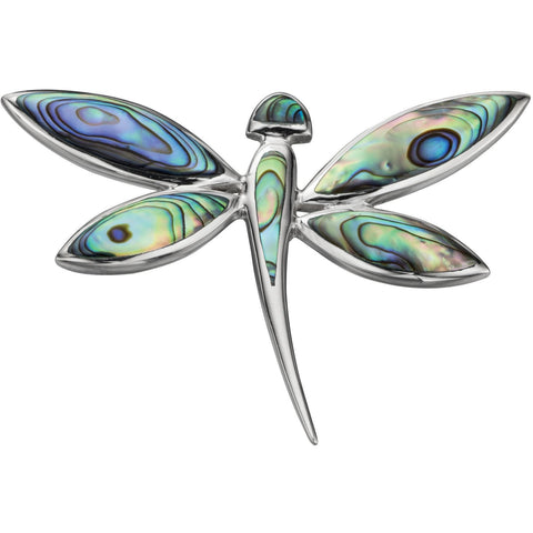 Large silver and paua shell dragonfly necklace (with chain)