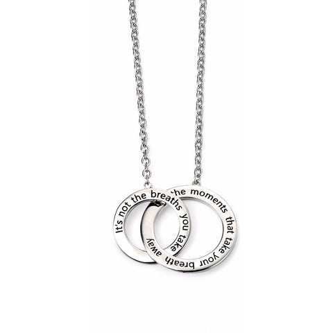 Rhodium plated double engraved necklace