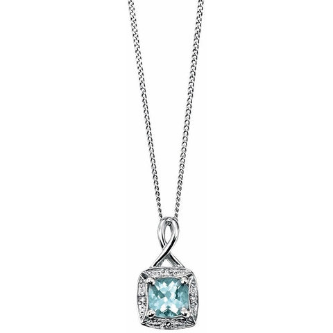 Aquamarine, diamond and white gold necklace