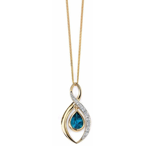 9ct Yellow Gold twist necklace with London blue topaz teardrop