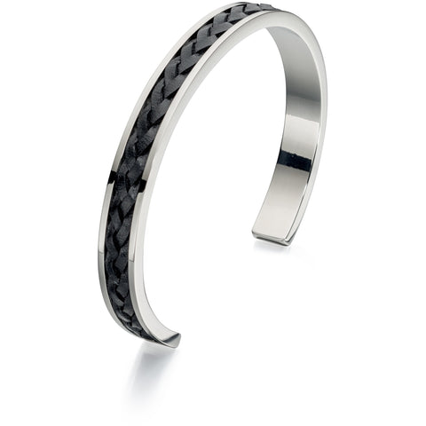 Open steel bangle with plaited black leather