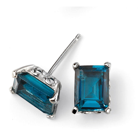 London blue topaz and white gold stud earrings with gallery detail