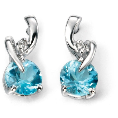 Blue topaz, diamond and white gold earrings