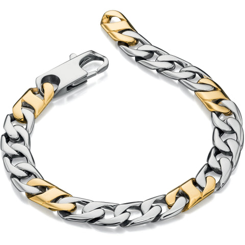 Stainless steel and gold link bracelet