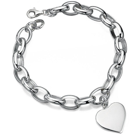 Silver link bracelet with heart charm