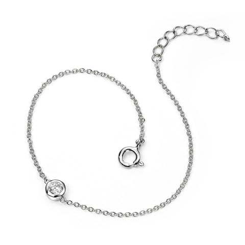 Simple silver and cubic zirconia bracelet